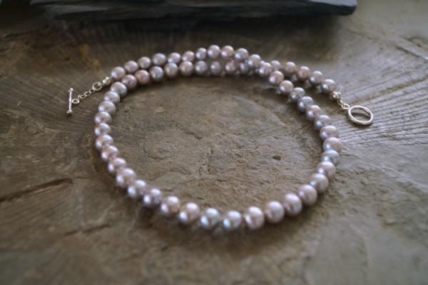 Perlenkette geknotet 925 Silber