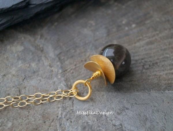 Anhänger Mondstein 925 Silber vergoldet