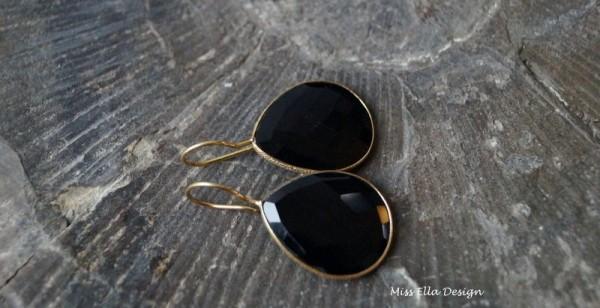 Ohrhänger Onyx 925 Silber vergoldet