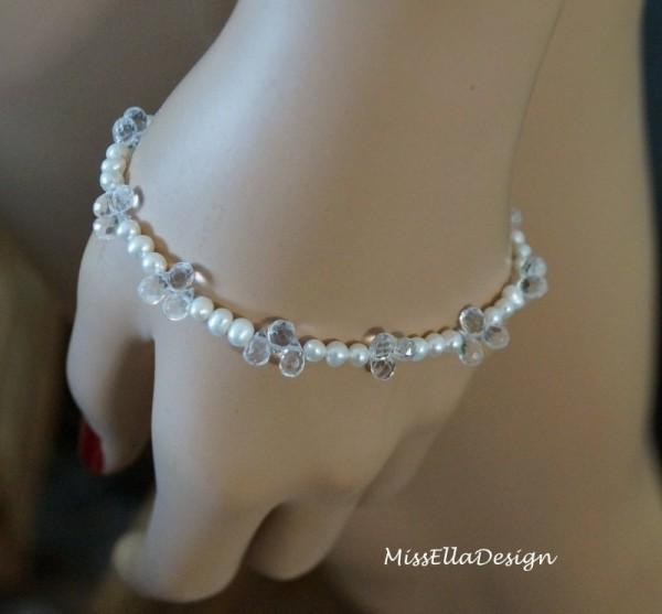 Armband Perlen Bergkristall Herz 925 Silber