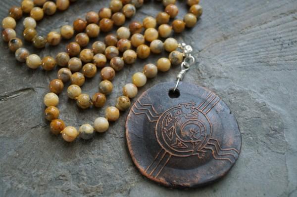Kette Jaspis lang geknotet Afrikanische Tonscheibe 925 Silber
