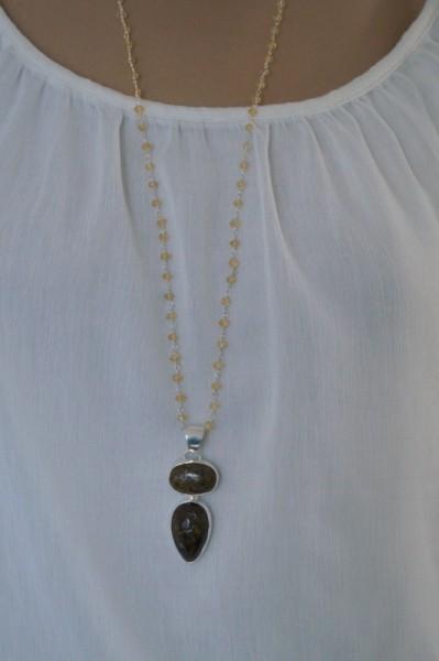 Citrinkette mit Bernstein Anhänger 925 Silber Geschenk für Frau