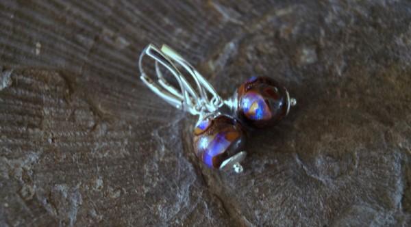 Opal Ohrringe Ohrhänger 925 Silber Boulder Opal