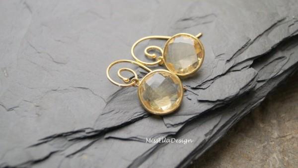 Ohrhänger Citrin 925 Silber vergoldet