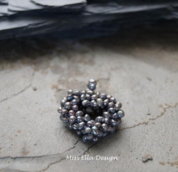 Perlenherz Perlenanhänger Süßwasser Zuchtperlen Herz aus Perlen