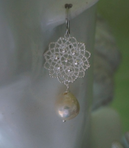 Perlenohrringe XXL Kasumi Perlen Silberornament 925 Silber Statement