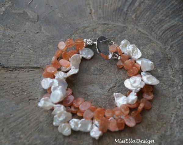 Armband Perlen und Sonnenstein 925 Silber