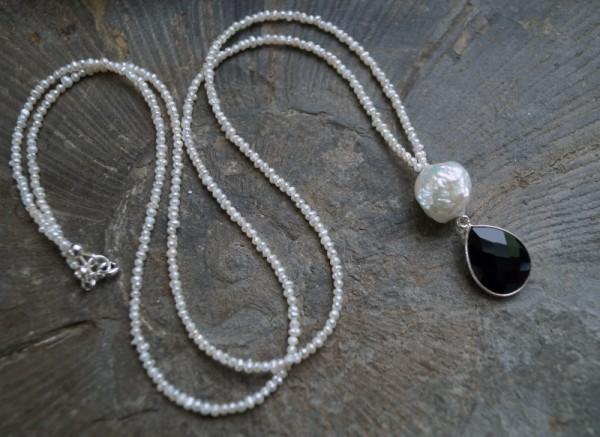 Perlenkette lang mit Kasumi Perle und Onyx 925 Silber Geburtstagsgeschenk Frau Geschenk zum Valentin
