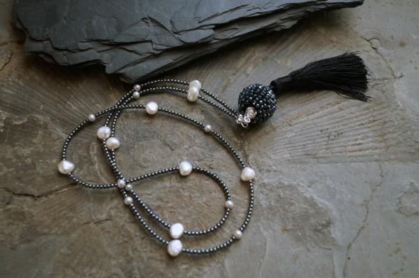 Kette Perlen Hämatit Spinell Tassel Quaste 925 Silber