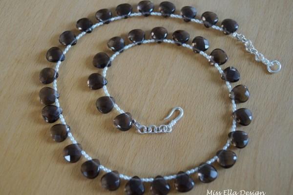Rauchquarzkette mit Perlen 925 Silber