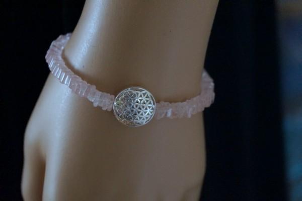 Rosenquarz Armband Blume des Lebens 925 Silber Unendlichkeit