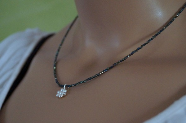 Spinellkette Blume Silberblume 925 Silber Geschenk für Frau