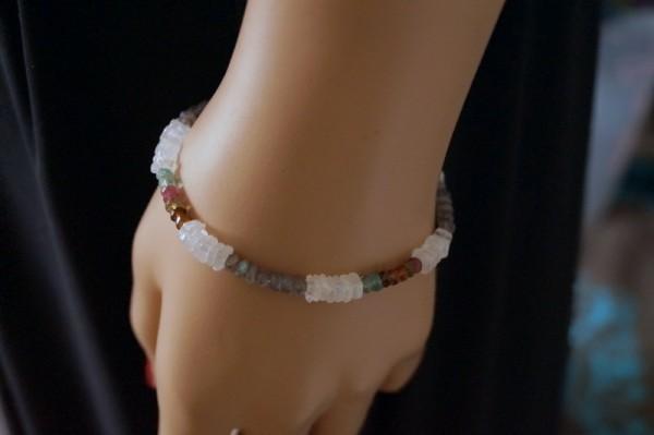 Edelstein Armband facettiert multicolor 925 Silber