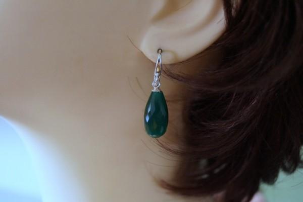 Ohrringe Ohrhänger Quarz grün tropfenförmig facettiert 925 Silber