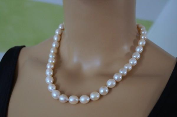 Perlenkette geknotet echte Perlen Süßwasser Zuchtperlen 925 Silber