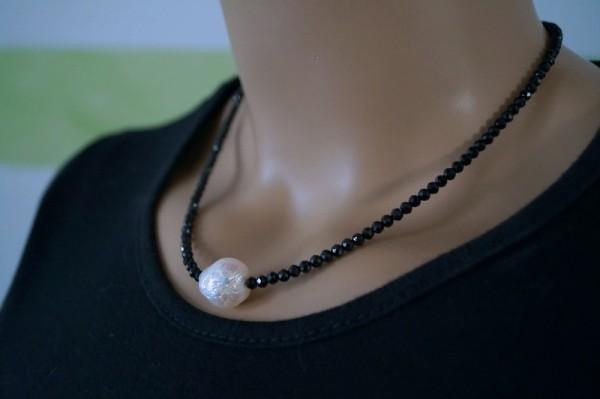 Kette Spinell schwarz mit Kasumi Perle 925 Silber Geschenk für Frau Muttertagsgeschenk