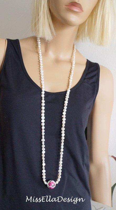 I05 Anhänger Blüte Silber 925 mit dunkler Perle