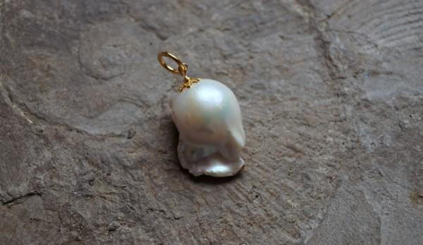 Perlenanhänger Barockperle 925 Silber vergoldet