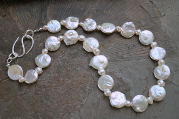 Perlenkette Coins Süßwasser Zuchtperlen Perlencollier 925 Silber echte Perlen Geschenk für Frau