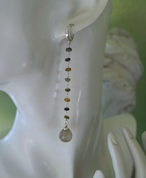 Ohrhänger Ohrringe Creolen Turmalin Mondstein 925 Silber Geschenk Frau