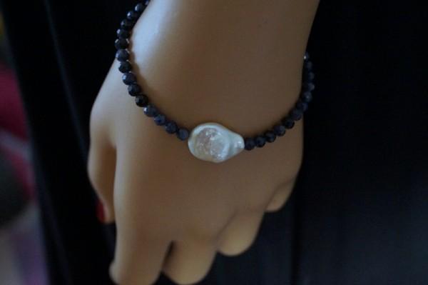 Saphirarmband Perle 925 Silber