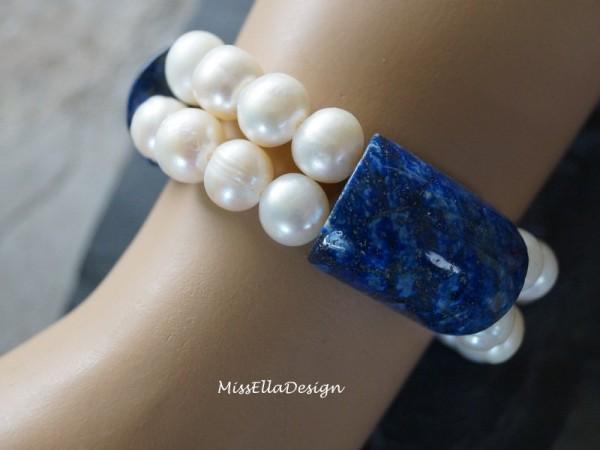 Armband Lapis Lazuli und echte Perlen Perlenarmband Steinarmband