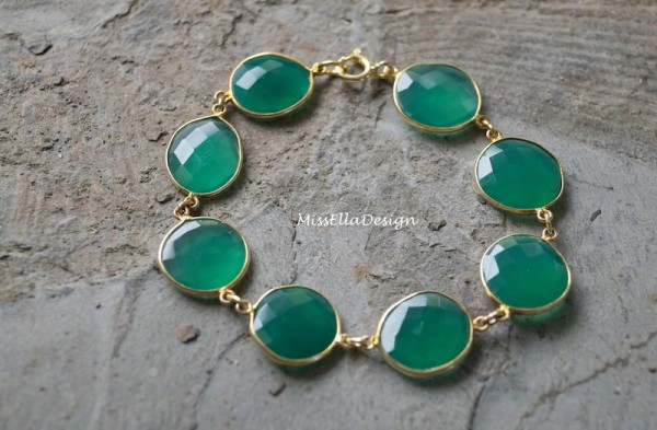 Armband Achat grün 925 Silber vergoldet Achatarmband