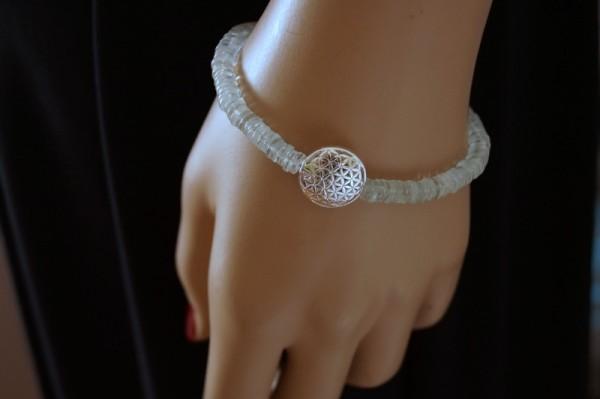 Aquamarin Armband Blume des Lebens 925 Silber Unendlichkeit