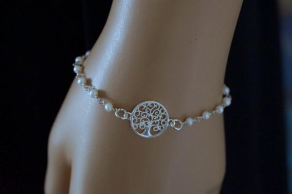Perlenarmband mit Lebensbaum 925 Silber