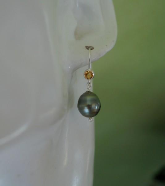 Tahiti Perlen Ohrringe mit Citrin 925 Silber Geburtstagsgeschenk Frau
