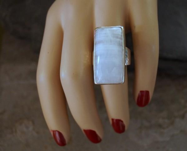 Ring RegenbogenMondstein 925 Silber