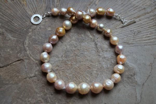 Perlenkette Perlencollier Kasumi Perlen Grössenverlauf 925 Silber