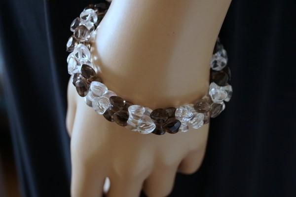 Rauchquarzarmband mit Bergkristall Herzen Unendlichkeit 925 Silber