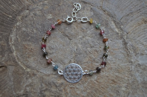 Armband Turmalin bunt mit Blume des Lebens 925 Silber