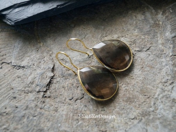 Ohrhänger Rauchquarz 925 Silber vergoldet