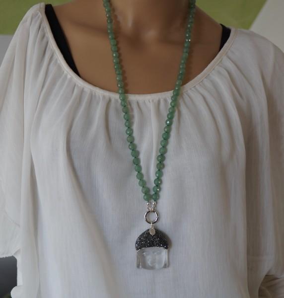 Kette lang Aventurin Buddha Modulkette 925 Silber