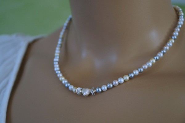 Perlenkette mit Silberherz 925 Silber Geschenk zum Muttertag