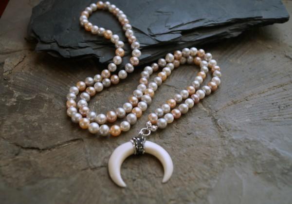 Perlenkette lang pastell 925 Silber Anhänger