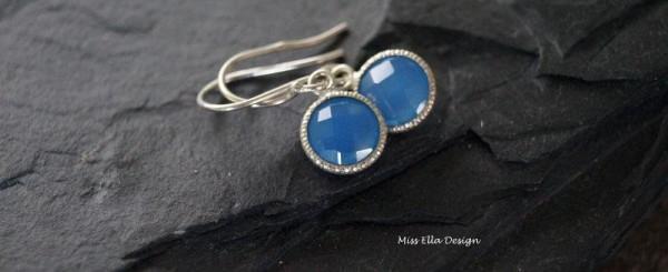 Ohrhänger Ohrringe Chalcedon blau 925 Silber Chalcedonohrringe