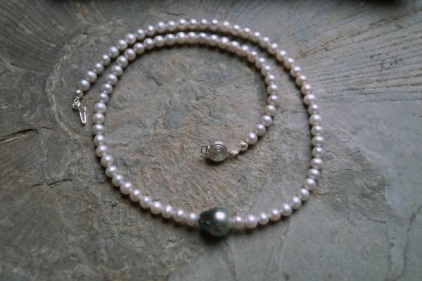 Perlenkette silbergrau mit Tahiti Perle 925 Silber Brautschmuck Geschenk Frau
