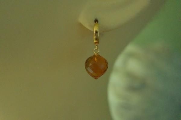 Ohrringe Creolen Citrin Quarz Ohrhänger 925 Silber vergoldet